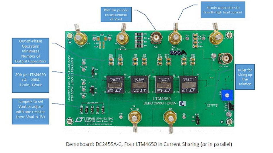 Mit vier LTM4650-Regler sind 200 A möglich.