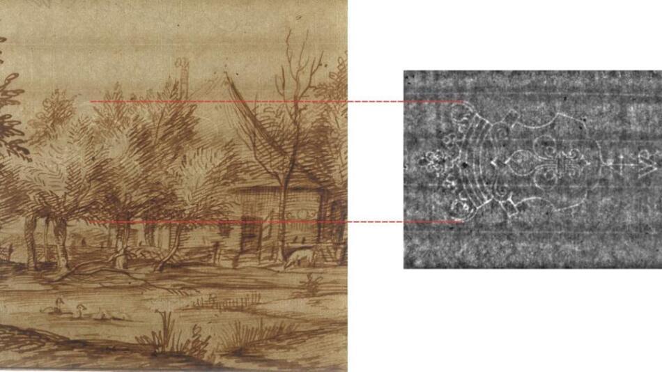 Handzeichnung von Jan Lievens aus der Rembrandt-Schule (links). Bekröntes Lilienwappen als Wasserzeichen (rechts) nicht zu erkennen.