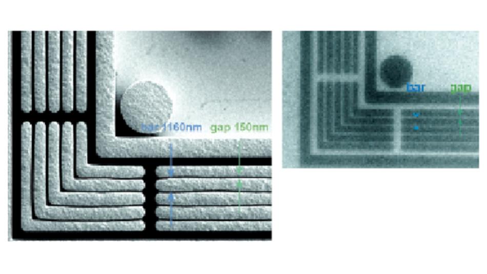 Links: Das Rasterelektronenmikroskop-Bild zeigt die exakten Abmessungen im Prüfkörper. Rechts: Der 150-nm-Spalt wird im  Röntgenbild klar sichtbar.