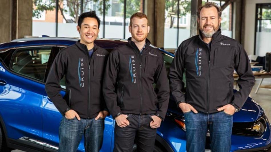 General Motors President Dan Ammann (rechts) mit Cruise Automation-Mitgründer Kyle Vogt (Mitte) und Daniel Kan (links).