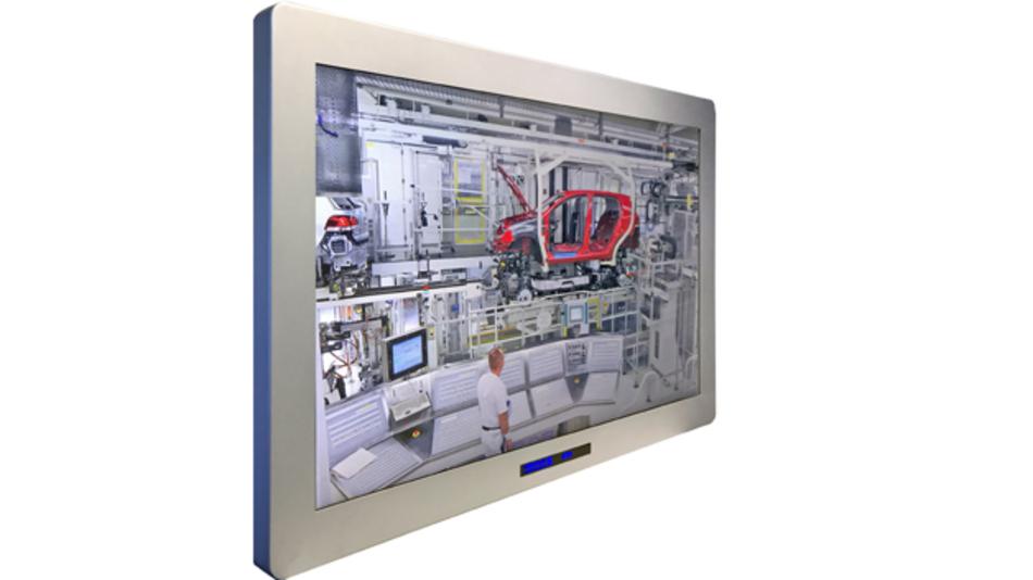 Für anspruchsvolle Industrieanwendungen ist Reikotronics 65-Zoll-TFT-LC-Display mit einem Kontrast von 4000:1 rundum gemäß IP65 geschützt.