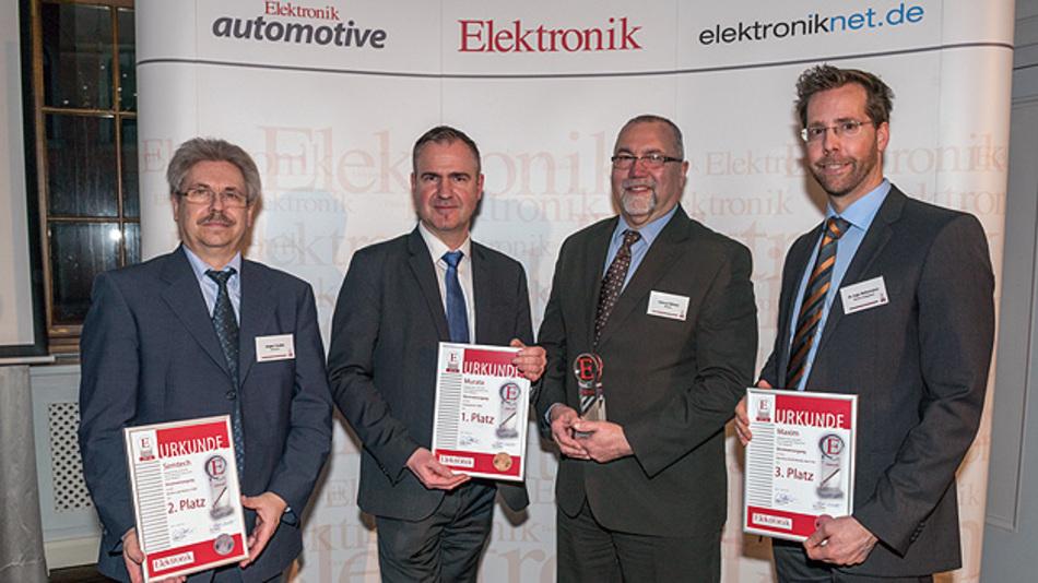 Das sind die Preisträger der Produkte des Jahres 2016 im Bereich Stromversorgung (von links): Jürgen Dudda, Jörg Wüstner, Helmut Winter und Dr. Ing. Ingo Hehemann.