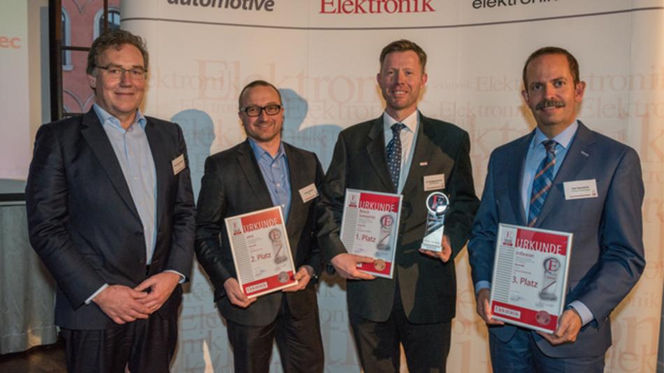 Die Preisträger 2016 in der Kategorie Sensorik von links nach rechts: Thomans Hennemann, Johann Winter, Dr. Wolfgang Schmitt und Ralf Bornefeld.