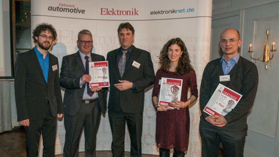 Elektronik-Redakteur Matthias Heise mit den Gewinnern in der Rubrik Messtechnik: Carl Bradbury, Robert Fottner, Laura Sanchez und Frank Berthaux.