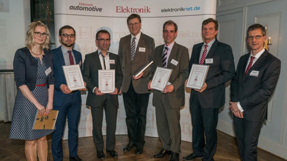 Die Autoren der Artikel des Jahres 2015: v.l.n.r. Stefanie Eckart (Elektronik automotive), Philip Rabenau, Reiner Lendle, Prof. Dr. Hans-Günter Eckel, Dr. Jochen Zausch, Prof. Dr. Jörg Wollert, Gerhard Stelzer (Elektronik/Elektronik automotive)