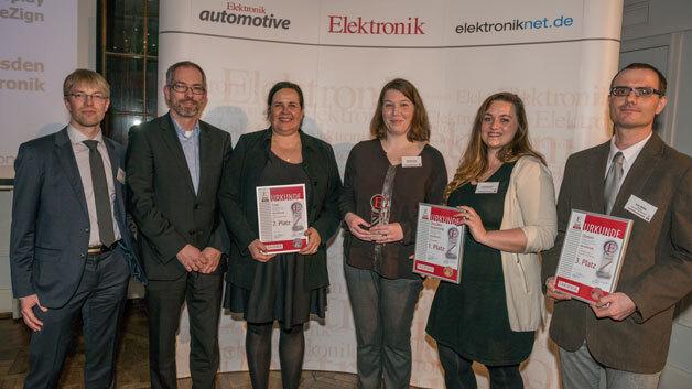 Die Preisträger in der Kategorie Optoelektronik mit Elektronik-Redakteur Markus Haller (ganz links): Harald Thomas, Britta Kruchen, Daniela Johne, Franziska Jahn und Dr. Jens Müller.