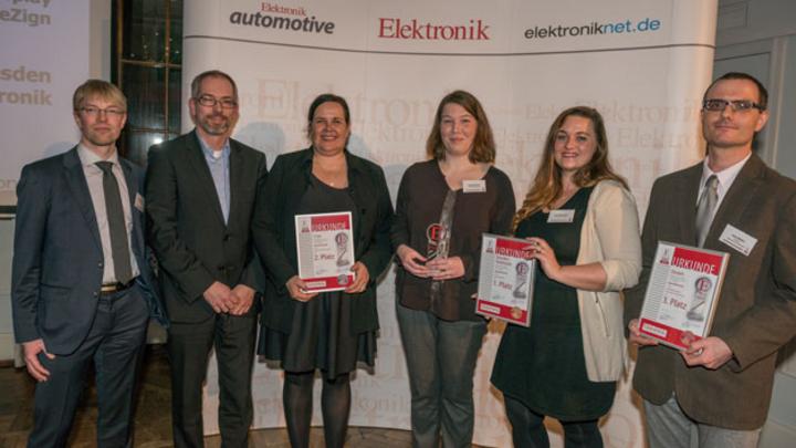 Die Preisträger in der Kategorie Optoelektronik mit Redakteur Markus Haller (ganz links): Harald Thomas, Britta Kruchen, Daniela Johne, Franziska Jahn und Dr. Jens Müller.