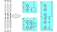 Selbstgeführter HGÜ-Umrichter: Modularer Multilevel-Umrichter (MMC). A) mit Halbbrückenmodulen; B) mit Vollbrückenmodulen; C) mit Halbbrückenmodulen und interner IGBT-Reihenschaltung.