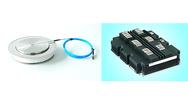 Leistungshalbleiter für Hochspannungs-Gleichstrom-Übertragung. Links: lichtgezündeter Thyristor; rechts: IGBT-Modul.