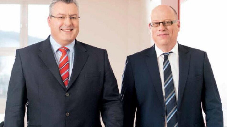 Der Vorstand der Jenoptik AG, Michael Mertin, CEO und Hans-Dieter Schumacher CFO, blicken auf das beste Geschäftsjahr der jüngeren Jenoptik-Geschichte zurück.