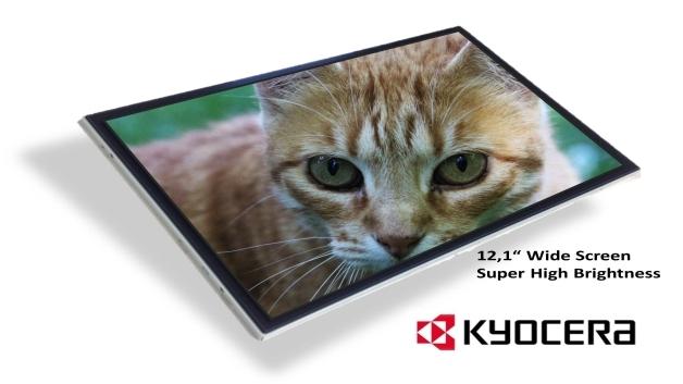 Eine enorme Lichtstärke von 1500 cd/m2 hat Kyoceras 12,1-Zoll-TFT-LCD-Modul TCG121WX im 16:10-Format mit einer Auflösung von 1280x800 Pixel.