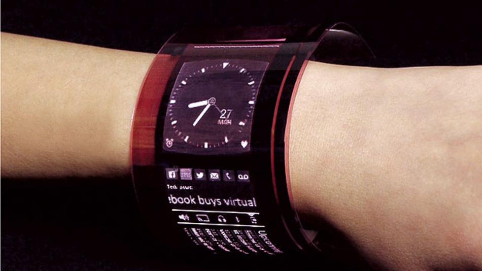 Bild 3. Dieser Demonstrator eines Display-Armbandes basiert auf einer oTFT-Matrix, die auf einem Plastik-Substrat gedruckt wurde.
