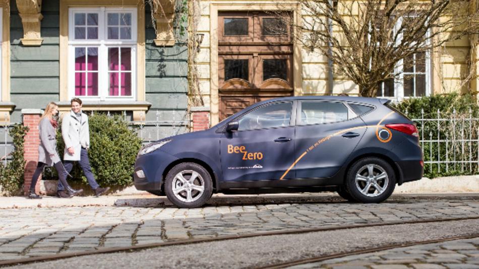 """Das neue Carsharing-Angebot """"BeeZero"""" von Linde setzt ausschließlich Brennstoffzellenfahrzeuge ein."""