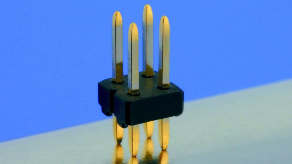 Stiftleisten mit thermisch gerissenen Kontakten für hohe Kontaktierungszuverlässigkeit.