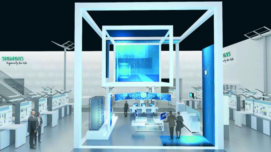 """Auf seinem 3.500m² großen Messestand in Halle9 präsentiert Siemens seine Neuheiten in verschiedenen """"Highlight Cubes""""."""