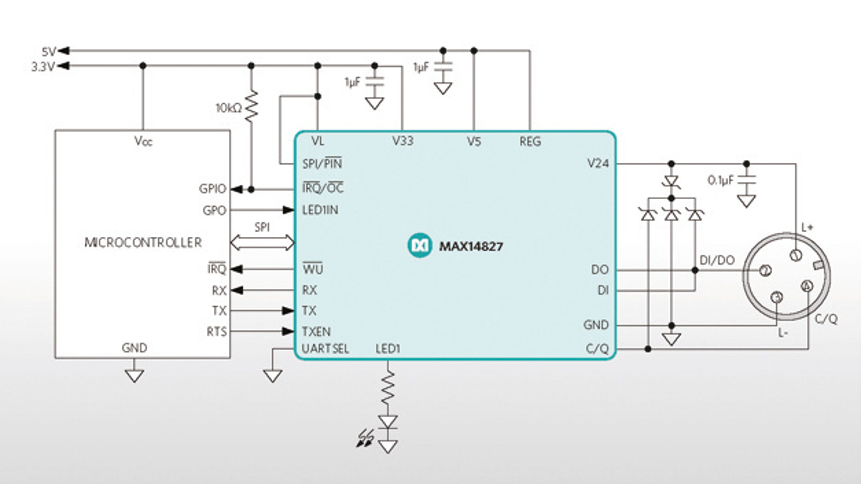 Hohe Integration und eine ausgeprägte Konfigurierbarkeit  zeichnen den IO-Link-Transceiver MAX14827 zusätzlich aus.
