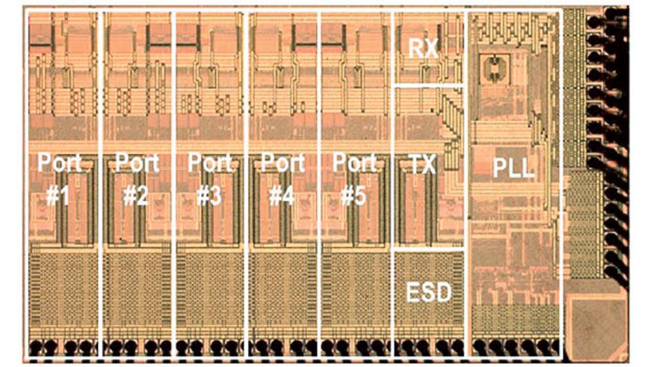 Bild 1. Im Automobil einsetzbar: Ethernet-Eingangsstufe in Analogtechnik von Broadcom nach dem IEEE-Standard 100BASE-T1.