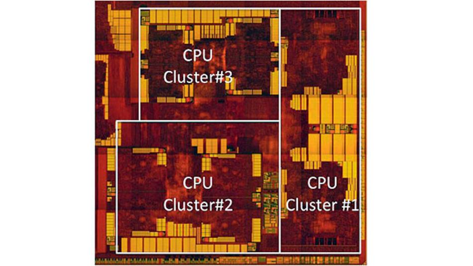 Bild 2. Mediatek realisierte eine Drei Cluster-Architektur mit insgesamt zehn ARM-Cores: acht A53 und zwei A72.