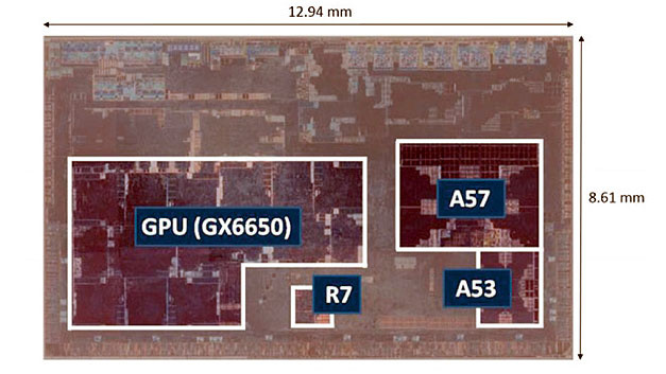 Bild 3. Das in einem 16-nm-FinFET-Prozess realisierte Nona-Core-SoC von Renesas für ASIL-B nach ISO 26262 umfasst zwei CPU-Cluster mit jeweils vier Cores und eine Grafikeinheit (GPU) mit drei Domänen.