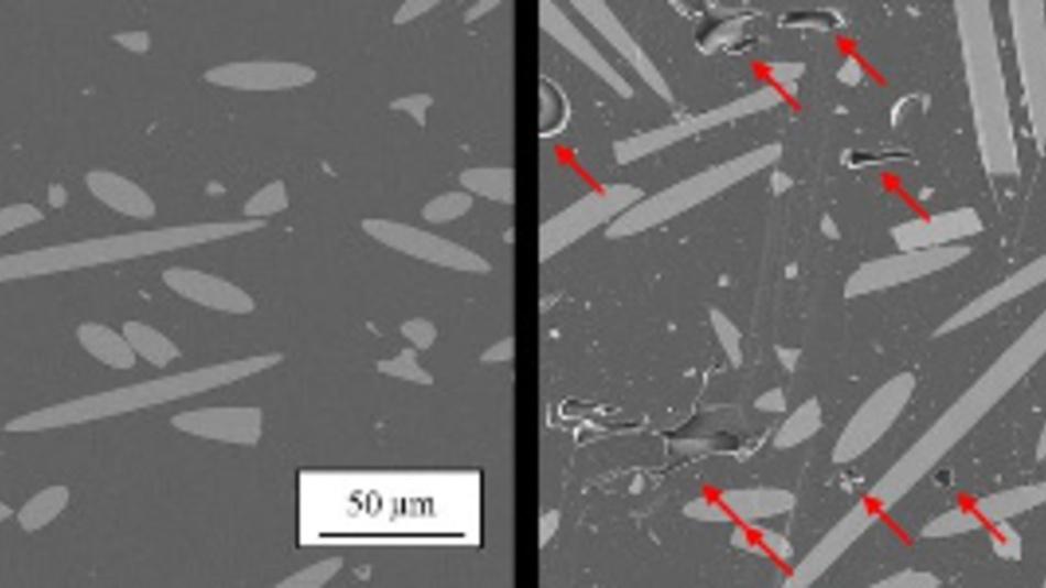 Rasterelektronenmikroskop-Bild der Kunststoffmatrix in Faserrichtung. Kunststoff ohne Defekte (links) und mit Voids in der Polymermatrix (rechts).