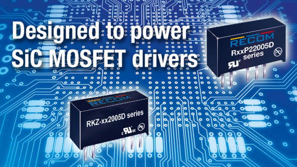 Mit wahlweise 3 kV, 4 kV (RKZ-xx2005D), oder sogar 5,2 kV (RxxP22005D) bieten diese 2-W-Wandler die passende Isolationshöhe für SiC-MOSFETs.