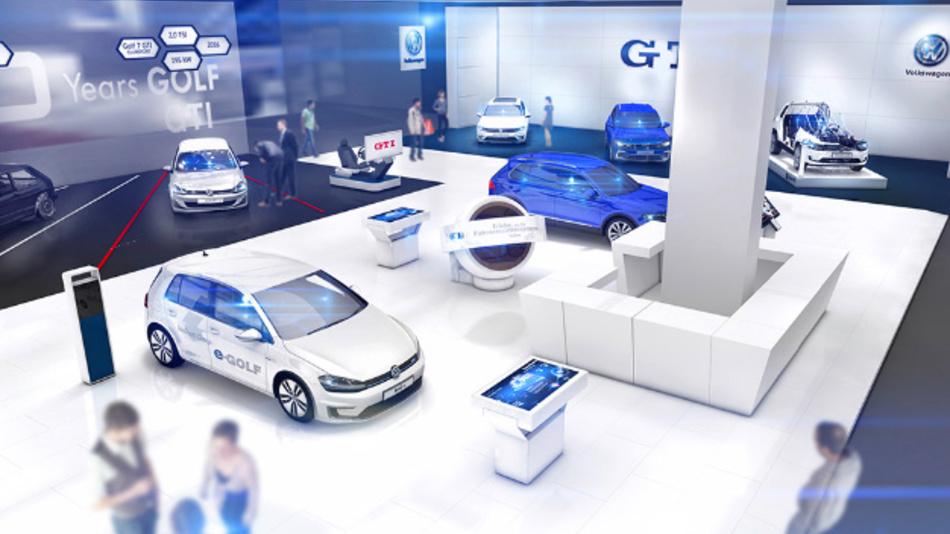 Der Messeauftritt von Volkswagen auf der Hannover Messe soll die Kompetenz des Autobauers im Bereich Elektromobilität demonstrieren.