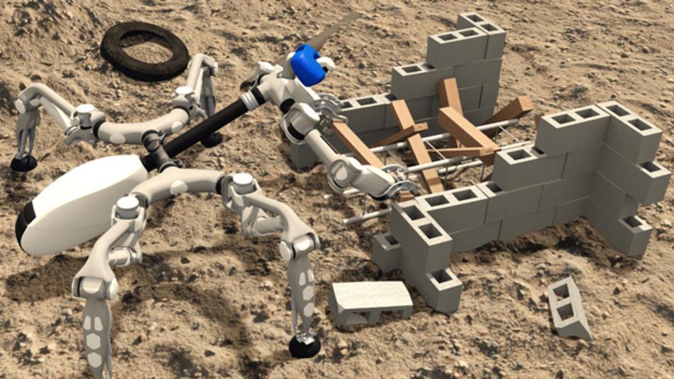 Simuliertes Szenario aus der DARPA Robotic Challenge zeigt den Roboter MANTIS im Einsatz.
