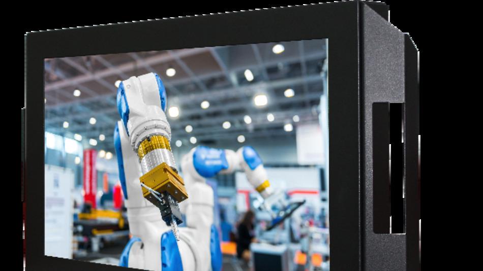 Distroniks 24-Zoll-Industrie-Monitor der Basic-Line für die Schwenkarm-Montage hat Full-HD-Auflösung und eine Helligkeit von 300 cd/m2.