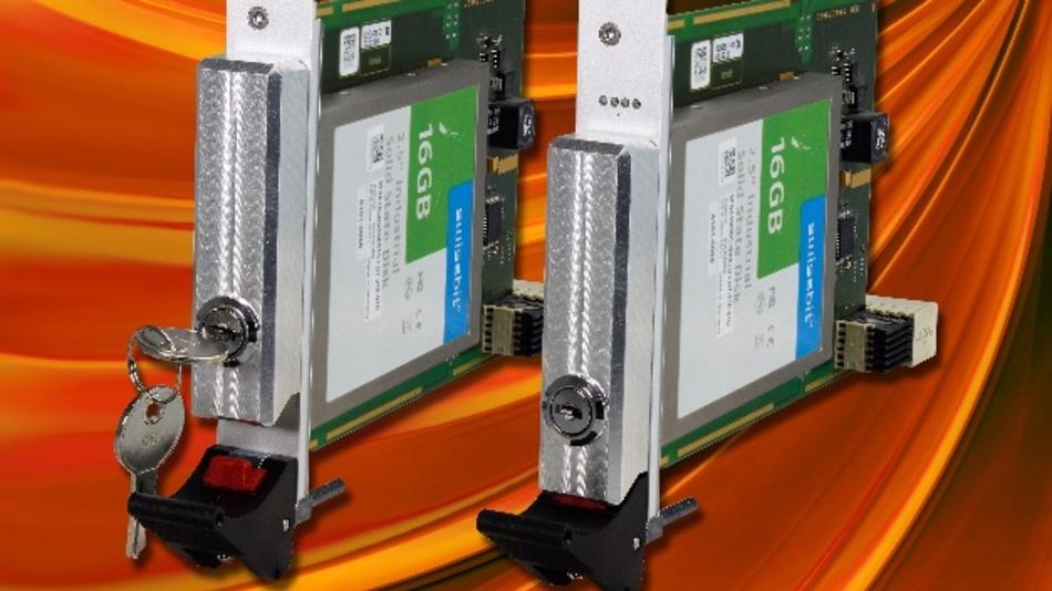 Die mechanischen Verriegelungen schützen hier die Festplatten-Shuttles eines CompactPCI-System vor unterautorisierter Demontage und Austausch.