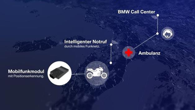 """Mit der Sonderausstattung """"Intelligenter Notruf"""" hat BMW ein eCall-System für Motorräder entwickelt."""