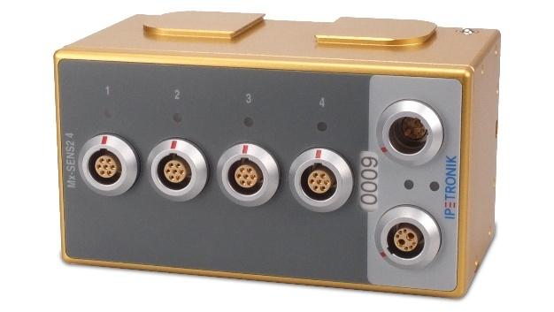 Das Messmodul Mx-Sens2 4 erfasst Signalverläufe in Verbrennungs- oder E-Motoren, zum Beispiel für Schwingungsanalysen, Noise/Vibration-Untersuchungen zur Ermittlung von Störgeräuschquellen und deren Übertragungswege im Fahrzeug sowie speziellen Untersuchungen am Motor wie den Verlauf des Einspritzvorganges der Düse bzw. den Druckverlauf im Zylinder.