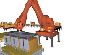 Simulierte Aktion eines Kuka-Roboters
