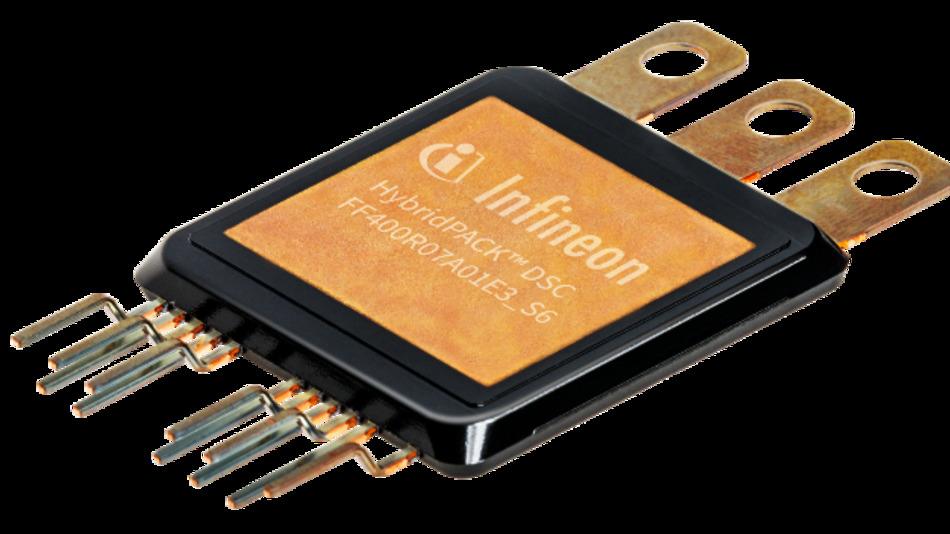 Das erste Modul der HybridPACK-DSC-Familie ist das FF400R07A01E3_S6 in Halbbrückenkonfiguration.