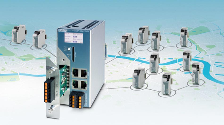 Mit dem neuen Managed Ethernet-Extender-System  lassen sich bis zu 20 km entfernte Anwendungen vernetzen.