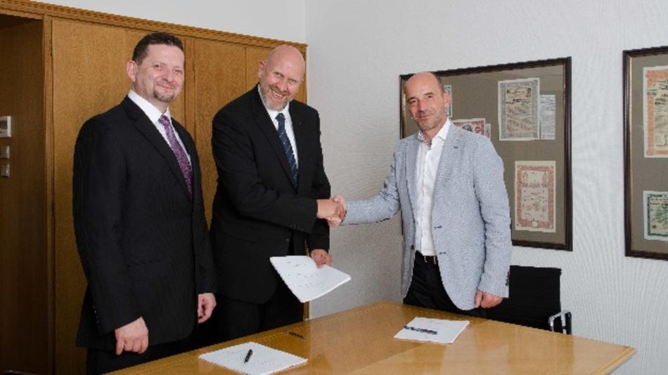Rolf A. Sonderegger, CEO Kistler-Gruppe, Dr. Volker Schatz, Vorstand Schatz AG, und Martin Schatz, Managing Director Schatz USA Inc.