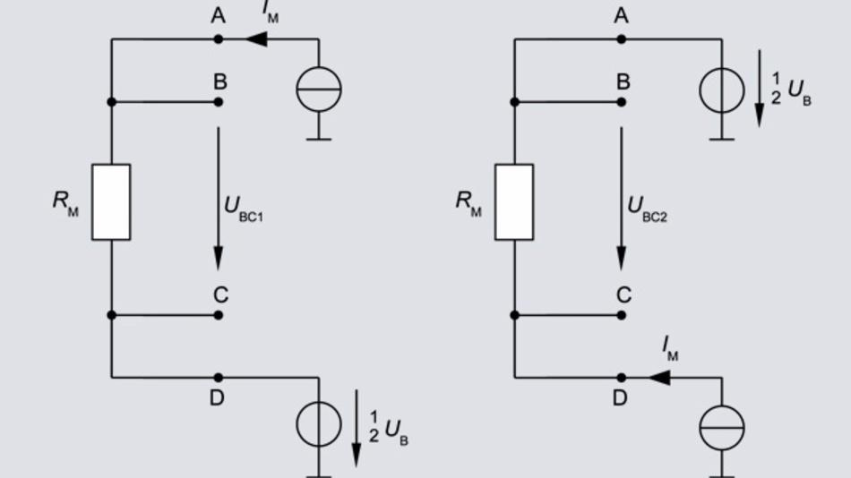 Bild 2: Messung mit Vorspannung um 1/2 UB. Links normale Polarität; rechts umgekehrte Polarität