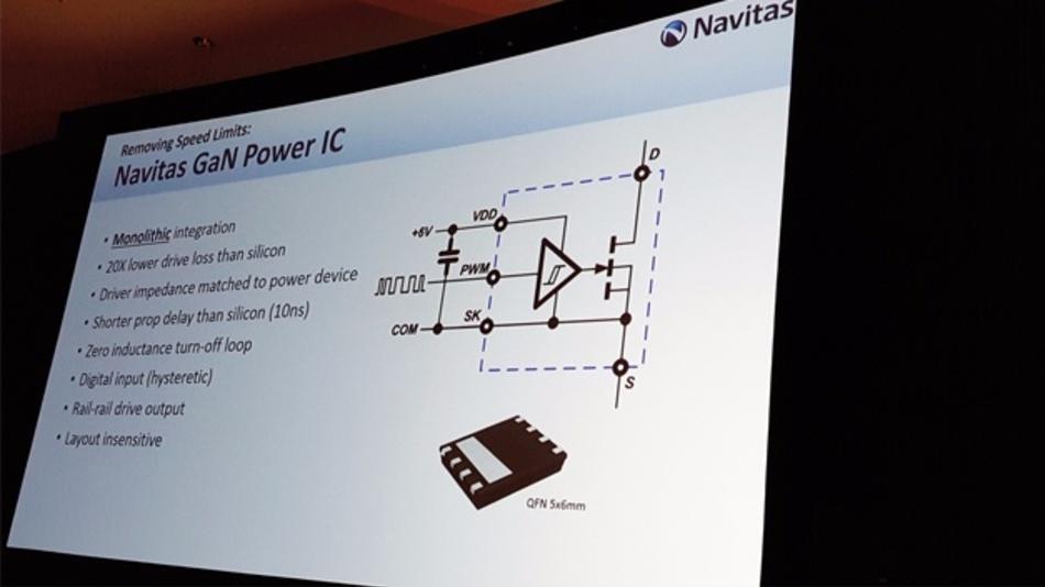 Bild 1: Bei ihrer »AllGaN«-Plattform hat Navitas Semiconductor den Schalttransistor und die Treiberstufe monolithisch auf einem GaN-auf-Silizium-Chip integriert