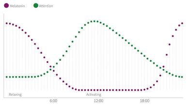 Abbildung 1: Human-Centric Lighting (HCL) kann den Verlauf  des natürlichen Tageslicht simulieren und dadurch die Melatonin- produktion senken, was zur Steigerung der Aufmerksamkeit führt.