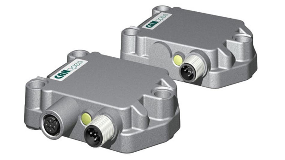 Zwei neue Modelle von Neigungssensoren von Kübler: Die Typen IN81 und IN88 sind schockfest bis 100g und werden über eine CANopen-Schnittstelle für nutzerspezifische Messaufgaben parametriert.