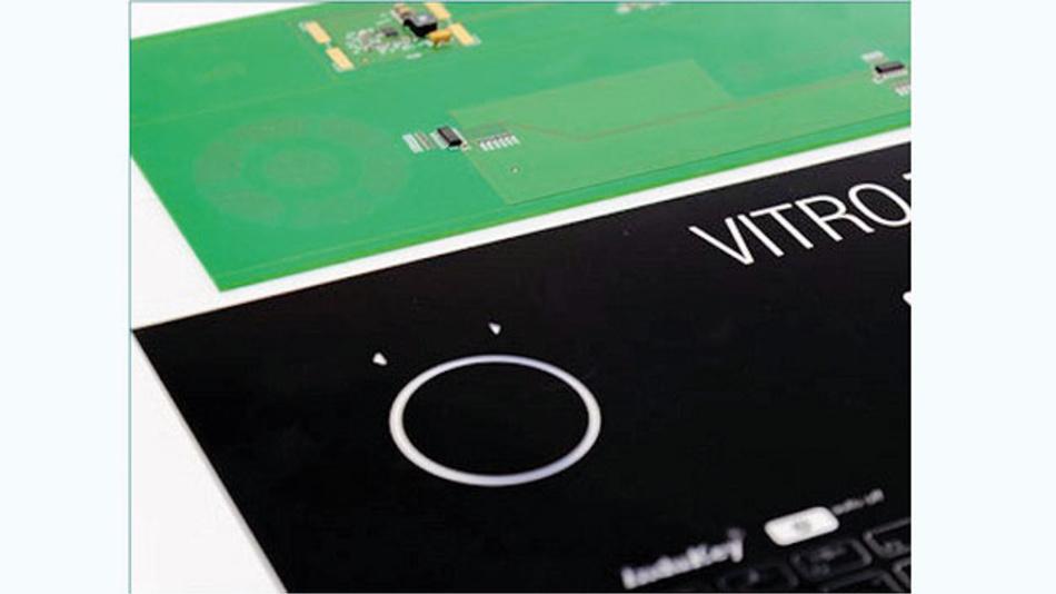 Beispiel für eine Leiterplatte mit kreisförmig angeordneten Sensoren zur Simulierung eines Drehreglers.