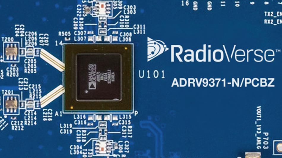 Das Funk-Transceiver-SOC AD9371 von Analog Devices für den Frequenzbereich 300 MHz bis 6 GHz arbeitet mit 100 MHz Bandbreite.