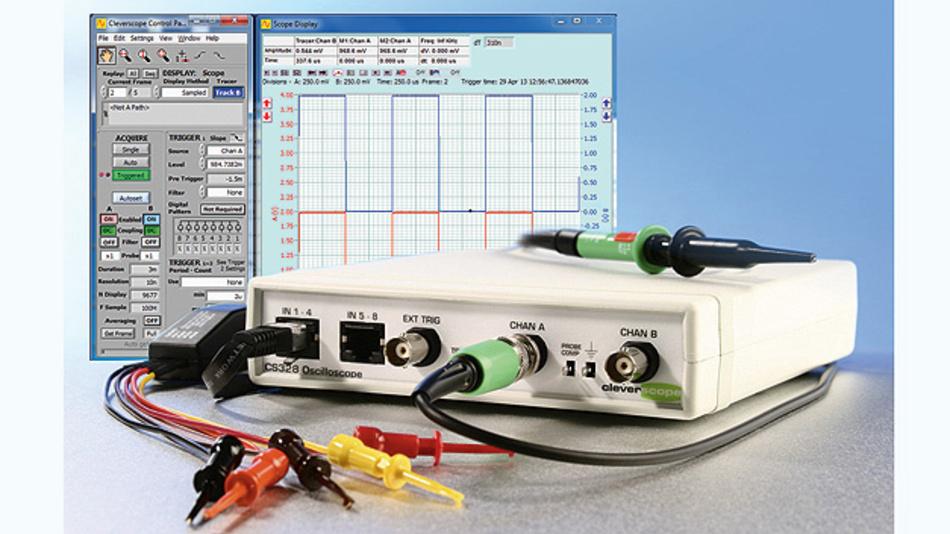 Bild 1. Die 2-Kanal-Box-Oszilloskope der CS32xA-Serie von Cleverscope tasten das Signal mit 100MS/s ab.