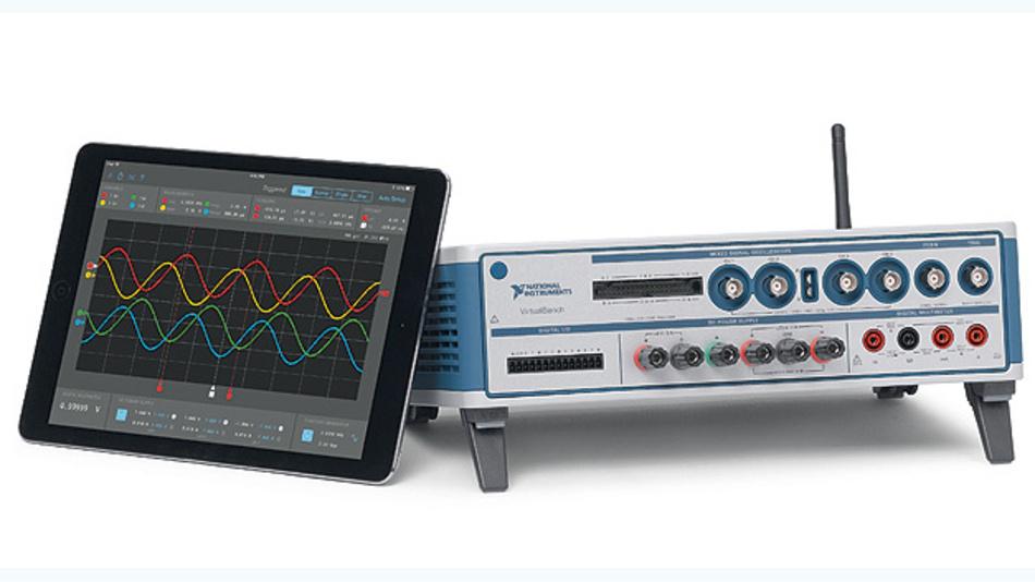 Bild 2. VirtualBench von National Instruments kann auch über WLAN von einem Tablet gesteuert werden.