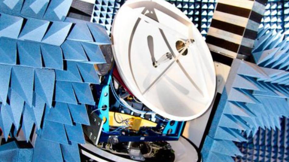 Auf dem Teststand der »Facility for Over-the-Air Research and Testing (FORTE)« werden die entwickelten Nachführalgorithmen der Antenne überprüft.