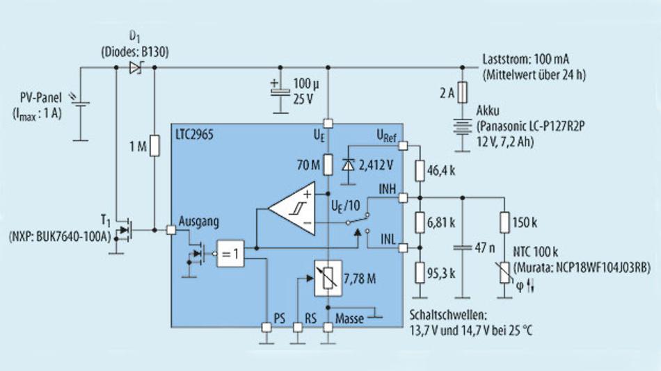 Bild 2. Mit dem LTC2965 lässt sich ein Hysterese-Regler für den Parallelbetrieb sehr einfach aufbauen. Mit einem NTC können die Schwellwerte sogar im Bereich 0 °C bis 50 °C temperaturkompensiert werden.