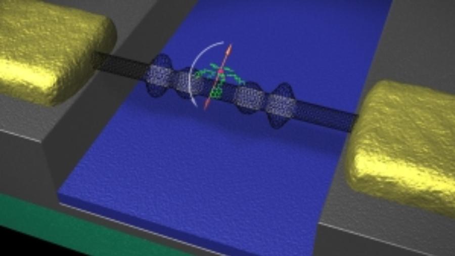 Die mechanischen Eigenschaften der Kohlenstoffnanoröhre (schwarz) bestimmen das Umklappen des Spins (orange) eines Moleküls (grün und rot).
