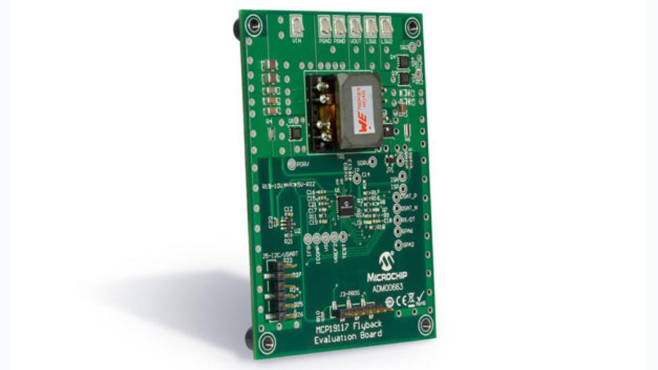 Mit dem MCP19117 Evaluationsboard kann schnell ein Prototyp mit dem Treiber IC in einer Flyback-Topologie aufgesetzt werden.