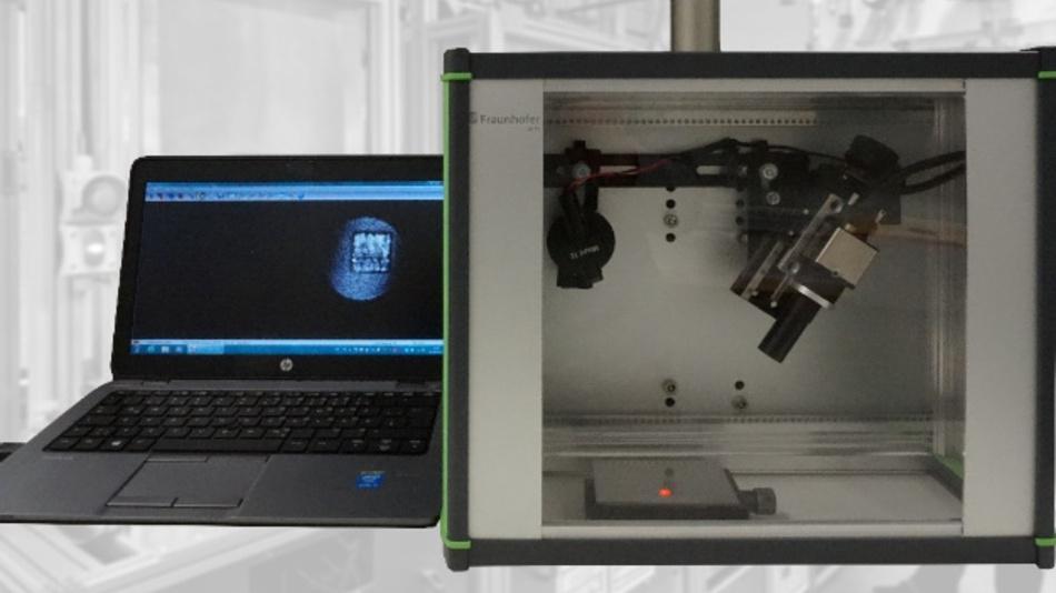 Aufbau des Demonstrators für die Laser-Speckle-Photometrie zur Inline-Prozessüberwachung.