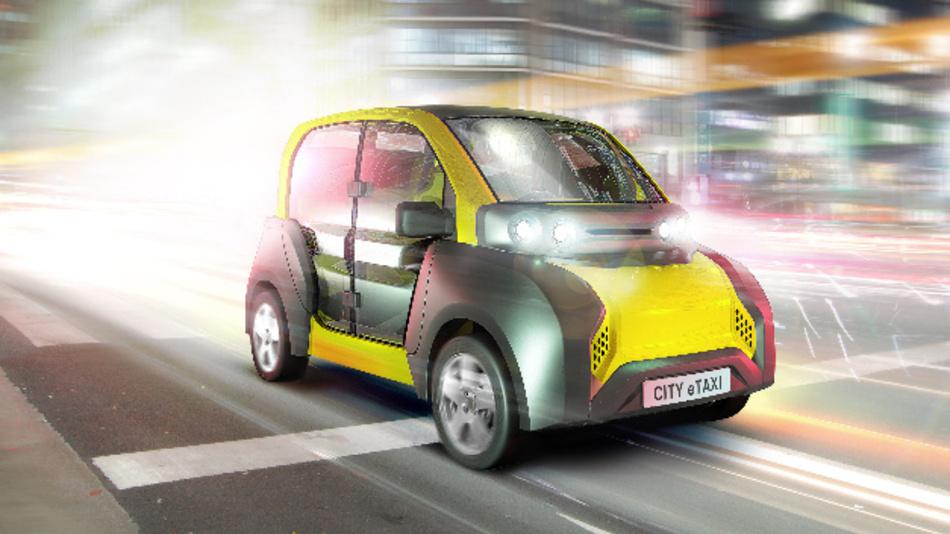 In Innenstädten soll der Elektrokleinstwagen CITY-eTaxi Personen und Güter lokal emissionsfrei befördern.