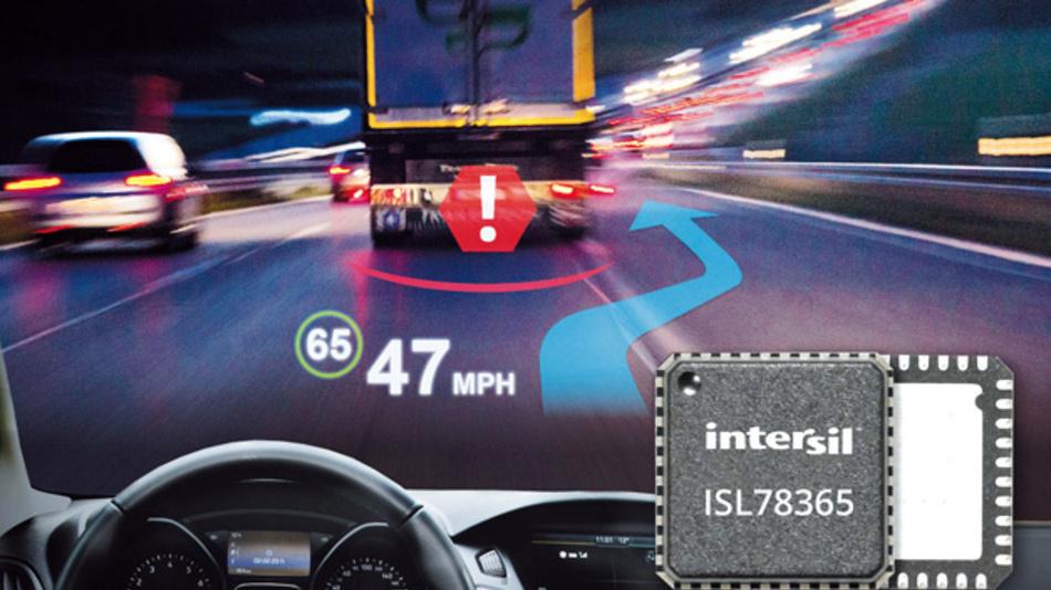 Intersils neue Laserdiodentreiber bilden das Herz der Augmented-Reality-Laser-HUDs. Diese Head-up-Displays der neuen Generation fügen die grafischen Informationen dynamisch über die gesamte Windschutzscheibe in das Straßenbild  und das Blickfeld des Fahrers ein.
